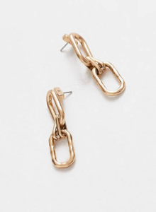 AllSaints chunky chain drop earrings in gold