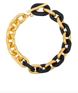 Paco Rabanne leather trim chain necklace
