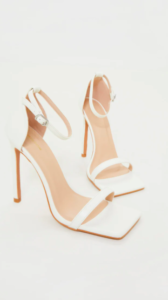 WHITE CLOVER BARELY THERE STRAPPY SQUARED TOE HEELED SANDALS