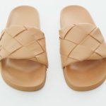 TAUPE PLATTED WOVEN PU SLIDES