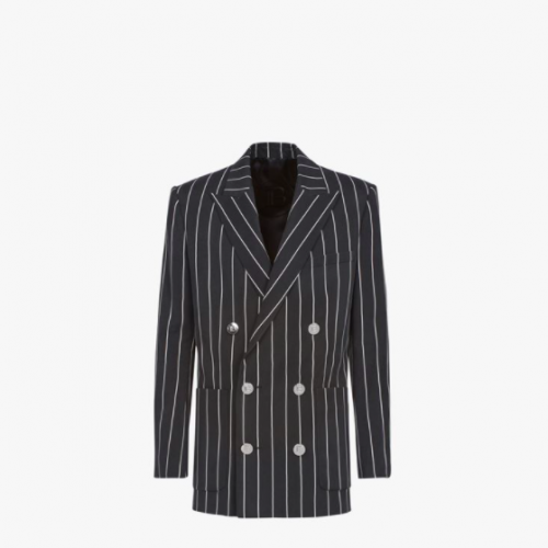 Black and white striped cuprammonium blazer with double-breasted buttoned fastening