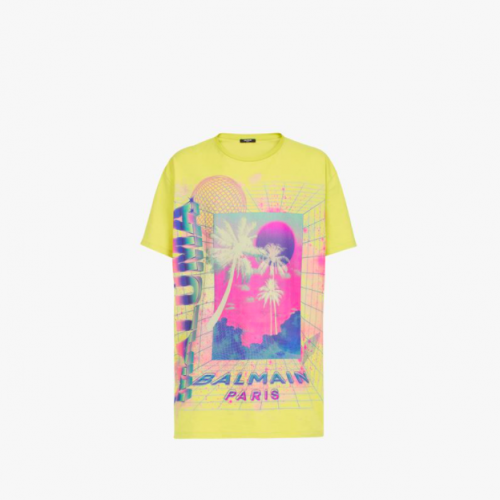 Oversized lime-green cotton T-shirt with multicolor Balmain logo print