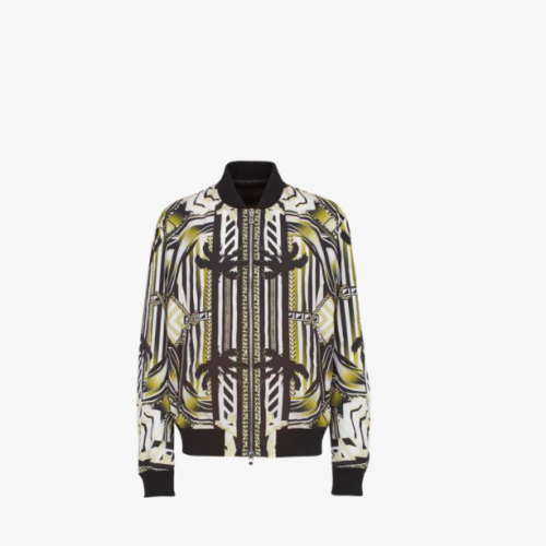 Nylon bomber jacket with multicolor print